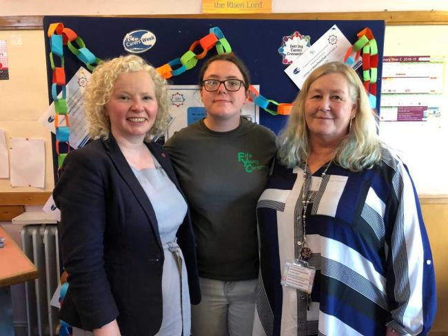 Claire Baker MSP with Kirstie Howell and Charlie Bowie from the Young Carers Focus Group at the afternoon tea event in Lochgelly.