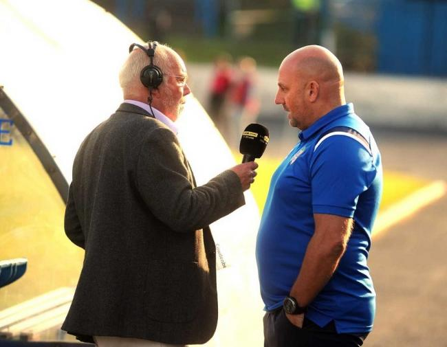 Radio pundit Chick Young interviewed Gary Bollan before the Hearts game.