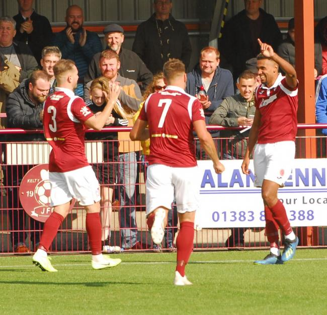 Kelty Hearts will hope to be celebrating again when they face Solihull Moors tomorrow. Photo: Ted Milton.