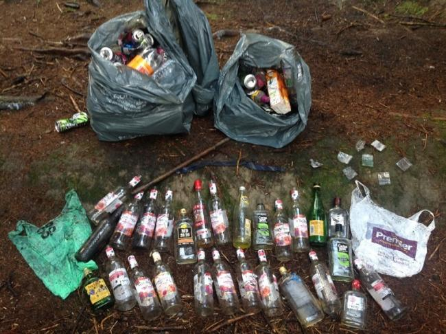 The volume of bottles and cans recovered from Cowdenbeath Community Woodland.