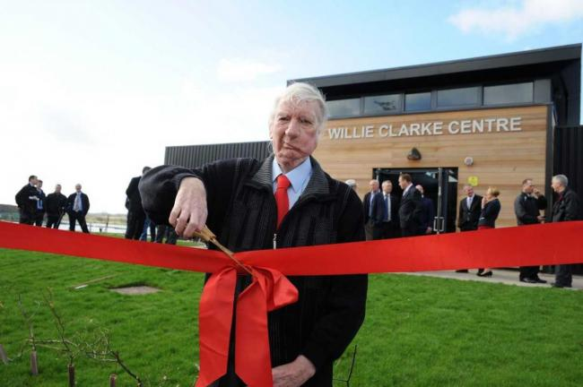 Willie Clarke at the opening of the centre bearing his name in April last year. The local legend was laid to rest on Wednesday November 13.