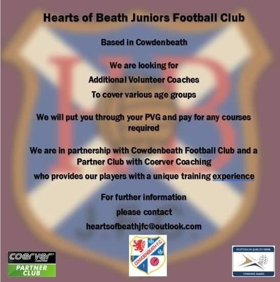 Hearts of Beath are looking for players and coaches.