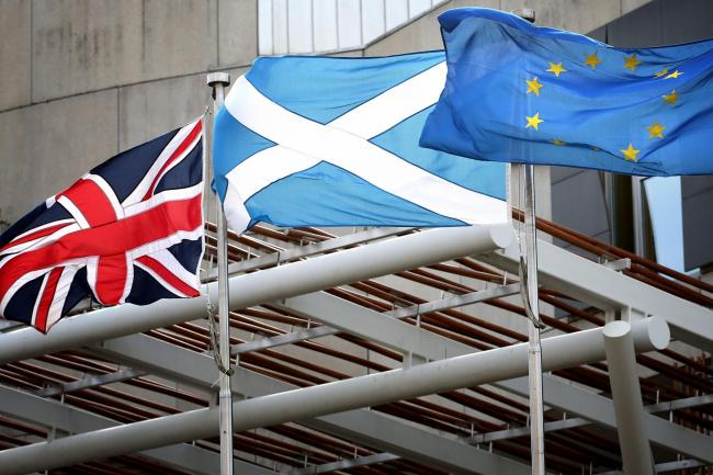 Union, saltire and EU flags