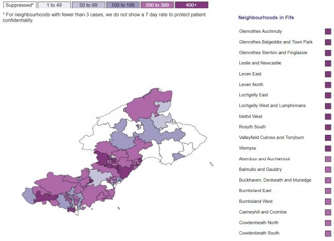 The map shows the worsening infection rates across Fife