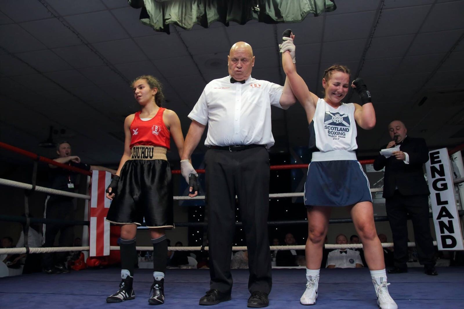 Emma McCulloch is declared the winner in her bout with Miriam Zouho.