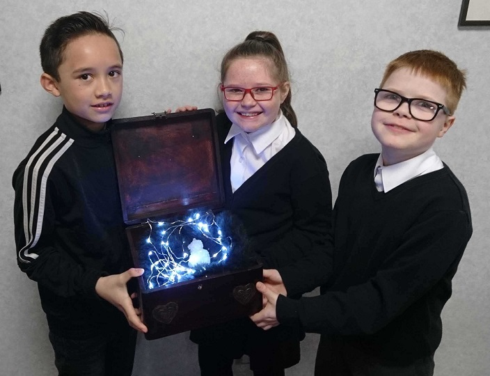St Joseph's pupils with their amazing crystals.