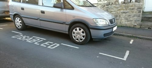 A disabled parking bay.