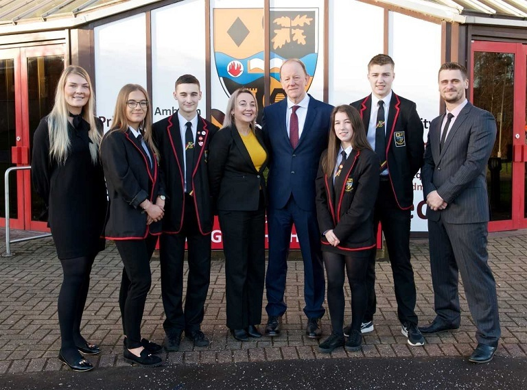 Pupils who are part of Employability with Gerry Eadie, rector Debbie Aitken, Adam Jackson and Melissa Hynd.