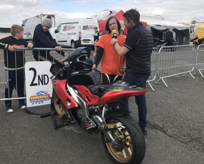 Logan Turner being interviewed after a race at Knockhill.