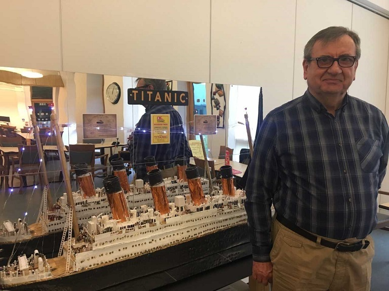 Bernard with his model of the Titanic.