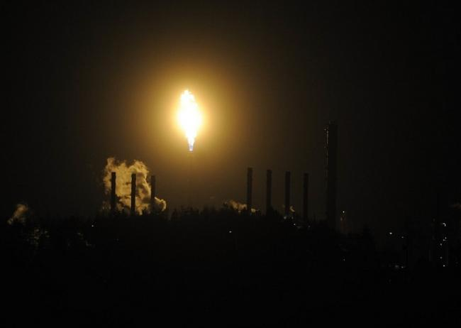 Night time flaring at plant.