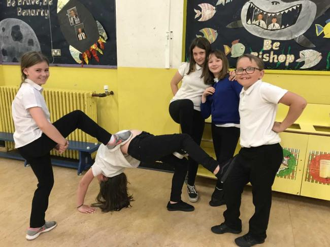 Broad Street pupils trying out one of their routines.