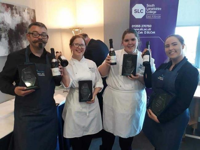 Norrie Smith, Terri Scott, Elidih Smith and Holly Wilkins are pictured with their awards for winning the Brakes Scotland's Student Hospitality Challenge.