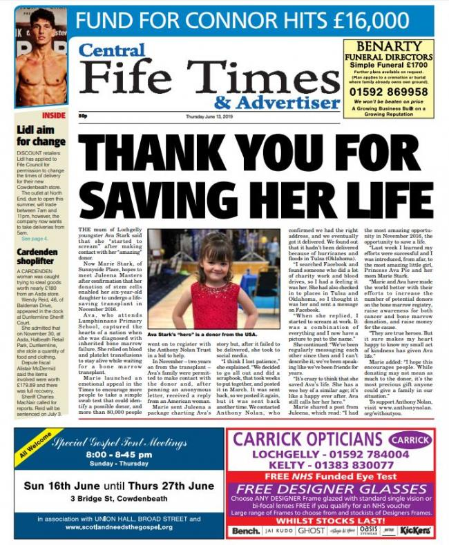 We've got a Top Class edition of the Central Fife Times out tomorrow